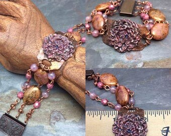Real Copper Cuff Iridescent Dahlia Flower Bracelet,  Pink, Czech Glass Beads, Statement, PMC Copper, Artisan Jewelry, Free Shipping in USA