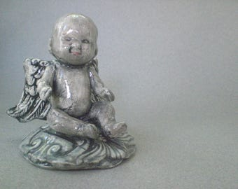 Ceramic Angel Sculpture - earthenware collage sculpture/figurine Blue Angel