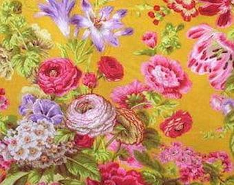 Philip Jacobs PJ075 Floral Delight Gold Gradi Flora FQ FAT Quarter Kaffe Fassett Collective Quilting Rowan Westminster Quilt Sewing Fabric