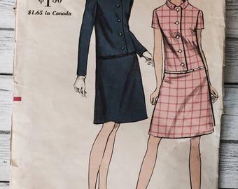 Vogue 7166 Vintage Dress 1960s Sewing Pattern Misses Size 12 Bust 32