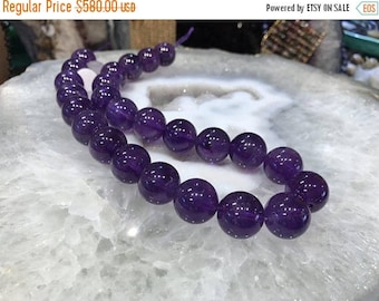 50% Mega Sale 16mm Brazil Dark Amethyst Round Gemstone Beads