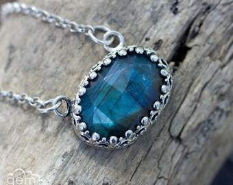 Labradorite and sterling silver necklace - Argante -