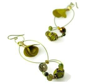 SOLD One of a Kind A Twist of Lime Floral Dangle Earrings