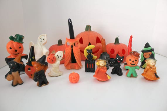 19 Vintage Halloween Gurley Candles, Witch, Cauldron, Pumpkin, Ghost, Skull, Cats, Owl, Lot #2