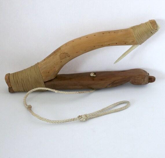 Vintage Inuit Halibut Hook, NW Coast Native Fishing Tool, Signed