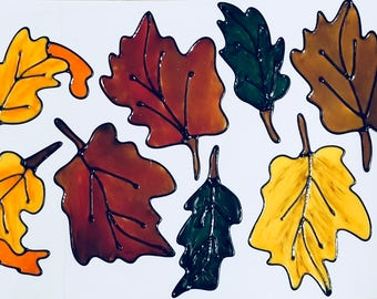 Autumn Leaves Window Cling Set (D)