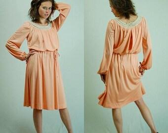 SALE 25% off sundays Grecian Dress Vintage 70s Peach Crochet Draped Bohemian Grecian Dress (s)