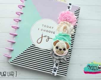 Dog Planner band { Pug Life }  pastel, gray cream, pet lover, pink polkadot elastic notebook closure, happy planner, filofax