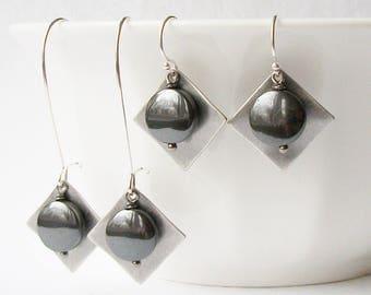 Black and Grey Geometric Dangle Earrings