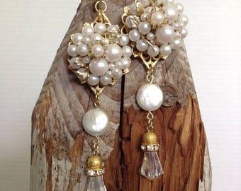 Vintage pearl cluster drop earrings