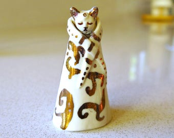 Itty Bity Kitty Cat Figurine Miniature Fine Ceramic Handmade Unique Royal Feline Collectible Miniature Statue in White and Gold Luster