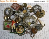 ON SALE Vintage Assemblage Lot- Costume Jewelry Scouting Memorabilia- Altered Art Supply Watch Parts- Found Object Lot