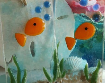 Fused Glass Mini Goldfishie Suncatcher