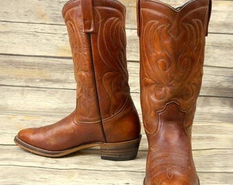 Mens 9 D Cowboy Boots Mason Vintage Country Western Brown Rockabilly Shoes