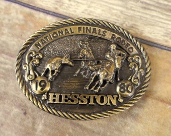 1980 National Finals Rodeo Belt Buckle Team Roping NFR Hesston Horse Western VTG