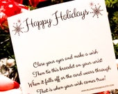 Custom Order - 35 Wish Bracelets On Happy Holidays Cards - Mix Of Stars & Colors
