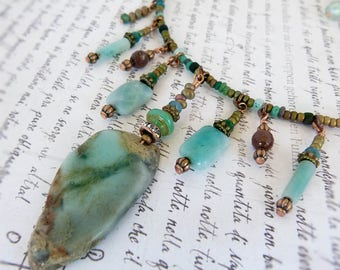 Amazonite Aqua Jasper choker style statement necklace - beaded memory wire stone necklace
