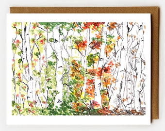 Sympathy Card, Empathy, Loss of Loved One, Loss of Mother, Funeral Card, Modern Sympathy Card, Trees, Woodland, Birch Forest, Four Seasons