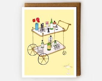 Funny Birthday Card, Bachelorette Card, Drinking Birthday, Congratulations Card, Bar Cart, Fun Card for Sister, BFF, Sorority, Cheer Up