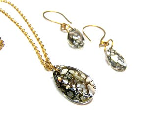 ON SALE Gold Crystal Pendant Earring Set Swarovski Jewelry Crystal Earrings Crystal Pendant Golden Crystals Top Selling Jewelry Women Gifts