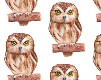 Owl Fabric - Owls By Ornaart - Owl Woodland Animal Bird Nature Hand Drawn Cotton Fabric By The Yard With Spoonflower