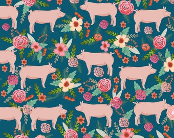 Pig Fabric - Pigs And Florals Farmyard Animals Farm By Petfriendly - Show Hog BBQ Pig Country Cotton Fabric by the Yard with Spoonflower