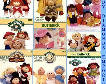 10 Cabbage Patch Kids Doll Clothes Sewing Patterns U-PICK Butterick 3151, 3152, 3270, 3387, 3728, 6736, 6827, 6935, 6980 Mostly 1980's