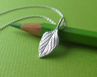 Calamintha Leaf Pendant Necklace - Pure Silver Real Leaf Pendant, Herb Jewelry