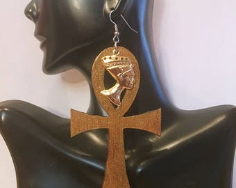 Afrocentric  Gold Glitter   ANKH   Wood Earrings NubianSensations