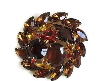 Juliana Rhinestone Brooch in Topaz, Amber and Orange Vintage Verified DeLizza & Elster