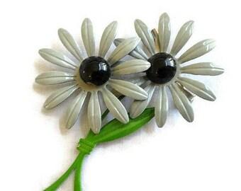 Double Flower Power Brooch Vintage Gray, Black and Green Enamel Retro Metal
