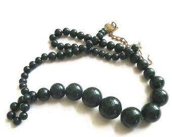 SALE Vintage Graduated Beads Necklace Single Strand Dark Green Glass Beads
