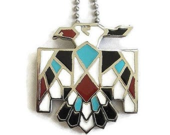 SALE Enamel Thunderbird Pendant Necklace Vintage Southwest