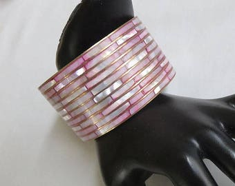 SALE Inlaid Pink & White Abalone Bangle Bracelet Vintage Inset in Brass