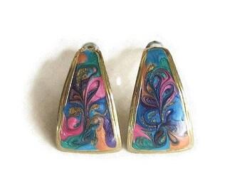 SALE Pink, Blue & Gold Psychedelic Enamel Earrings Vintage Half Hoops