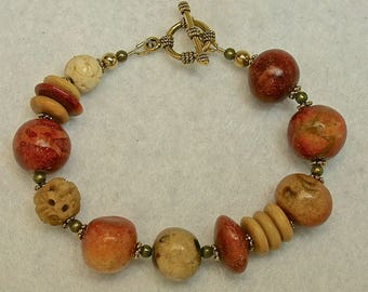 Vintage Apple Coral Bead Bracelet,Vintage Tiger Coral, Vintage Carved Bone Flower Beads,Gold Toggle Clasp - GIFT WRAPPED JEWELRY