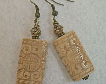 Vintage Chinese Carved Bone Double Happiness Bead Earrings , Vintage Brass Beads - GIFT WRAPPED