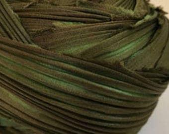 1/2 yd Shibori Ribbon Olive Green Hand Dyed Silk Ribbon
