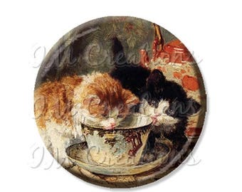 """25% OFF - Pocket Mirror, Magnet or Pinback Button - Wedding Favors, Party themes - 2.25""""- Vintage Kittens Tea Time MR183"""