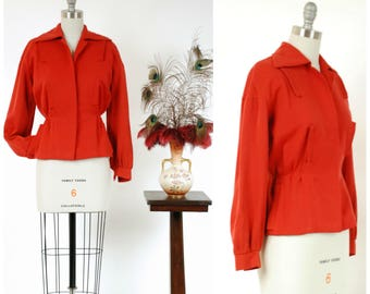 1940s Vintage Jacket - Sporty and Sophisticated Red Gabardine 40s Jacket with Gathered Back and Sleeves