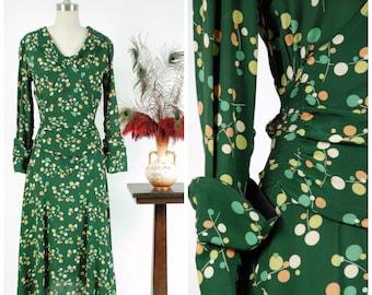 "Vintage 1930s Dress - Autumn 2017 Lookbook - The Jubilee Dress - Rare Green Rayon Dress with Bright Dot Print of ""Flex a Duplan Fabric"""