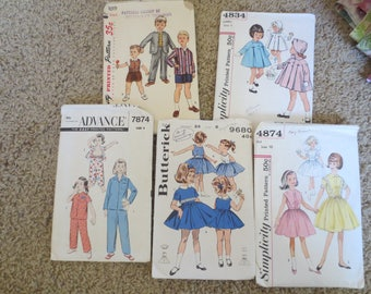 5 sewing patterns / 1940s 1950s 1960s / toddler patterns / childs patterns / girls patterns / Simplicity / Butterick / McCalls / vintage