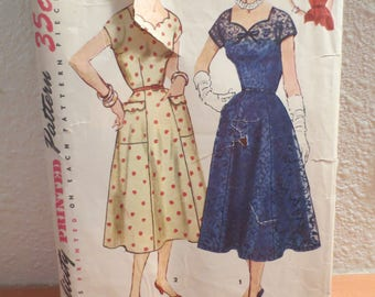 Simplicity Vintage 1950s One-Piece Dress Pattern 4667 / size 16 bust 34 / Simple To Make / pattern and instructions