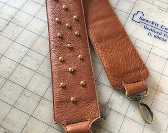 Leather Crossbody Purse Strap, Leather Guitar Strap, Leather Camera Strap, Leather Purse Crossbody Strap, Leather Purse Strap with Studs