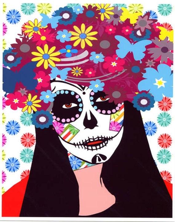 Sugar skull flower girl digital art print Day Of The Dead Dia de Los Muertos skeleton signed pop artwork By elizavella