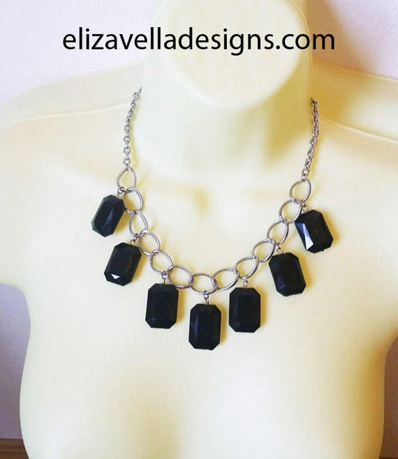 black drop necklace bead drop necklace silver large chain necklace handmade costume fashion jewelry #jewls3036