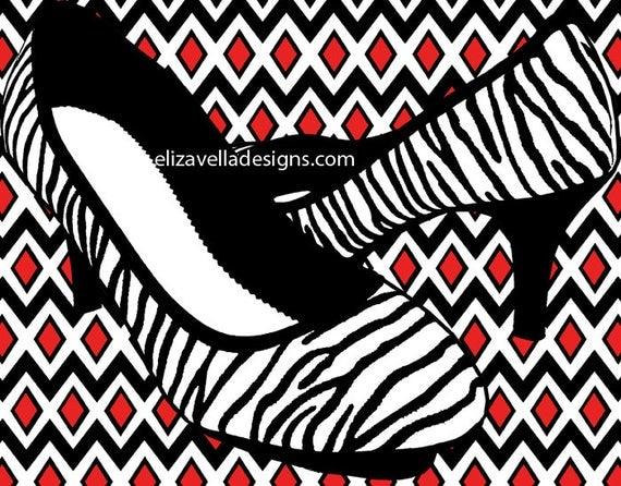 womans zebra high heel shoe diamond pattern printable fashion art graphics image digital download home decor living room bedroom
