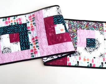 Modern Quilted Patchwork Table Runner in Pink and Blue Floral and Print Patterns