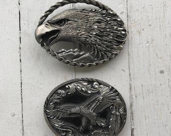 Belt Buckles / Western Belt Buckles / Lot of 2 / USA Made / Americana / Eagles / Eagle Belt Buckles
