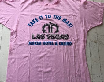 Vintage Las Vegas Tshirt / Vintage Tshirt / 1980s Tshirt / Pink Tshirt / Pink Tee / Soft Vintage Tee